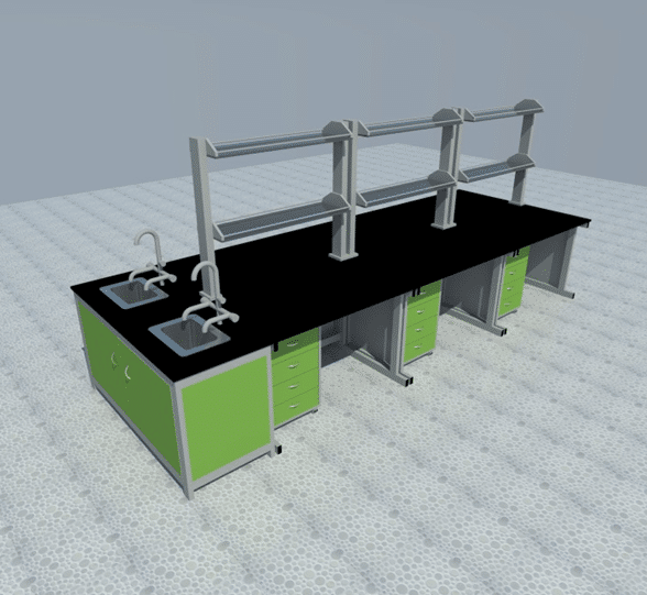 Bàn thí nghiệm trung tâm 4,2 mét, kệ hóa chất 02 tầng, có 02 chậu rửa